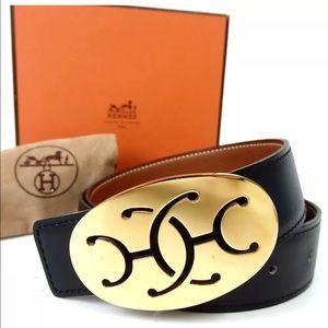 Hermès reversible black brown belt size 75